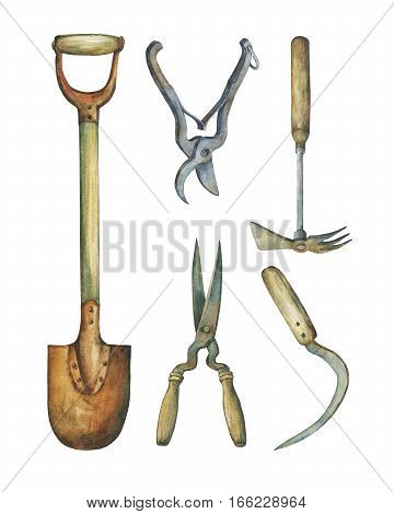Shovel, hayfork and other tools necessary for garden improvements. Hand drawn watercolor painting on white background.