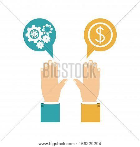 colorful silhouette with hands dialogue spheres with pinions and money symbol vector illustration