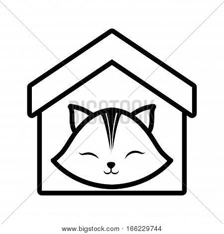 cat clossed eyes feline house pet outline vector illustration eps 10
