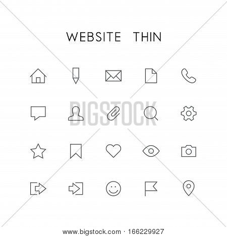 Website thin icon set - home, pencil, document, phone, chat, mail, man, search, gear, star, bookmark, heart, eye, photo and others simple vector symbols. Internet and social network signs.