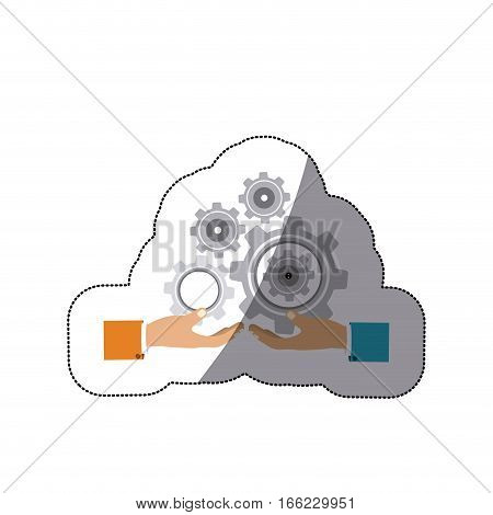 colorful middle shadow sticker with hands hold gear wheels vector illustration