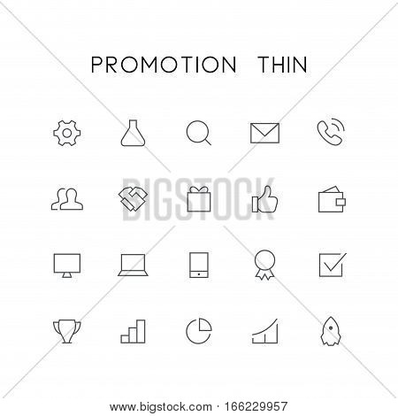 Promotion thin icon set - pinion, tube, search, envelope, telephone, clients, handshake, gift, wallet, mobile phone, check mark, rocket and others simple vector symbols. Business and success signs.