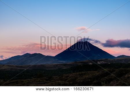 Scenic View Of Mt Ngauruhoe At Colorful Sunset, Tongariro, New Zealand
