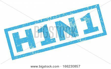 H1N1 text rubber seal stamp watermark. Tag inside rectangular shape with grunge design and dust texture. Inclined vector blue ink sticker on a white background.