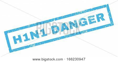 H1N1 Danger text rubber seal stamp watermark. Tag inside rectangular shape with grunge design and scratched texture. Inclined vector blue ink emblem on a white background.