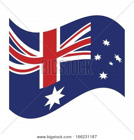australian flag waving emblem icon vector illustration eps 10