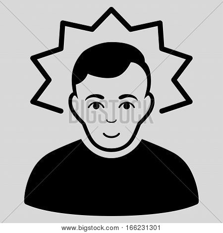 Inventor vector icon. Flat black symbol. Pictogram is isolated on a light gray background. Designed for web and software interfaces.