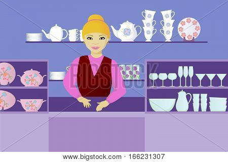 seller in dishes shop cartoon vector illustration
