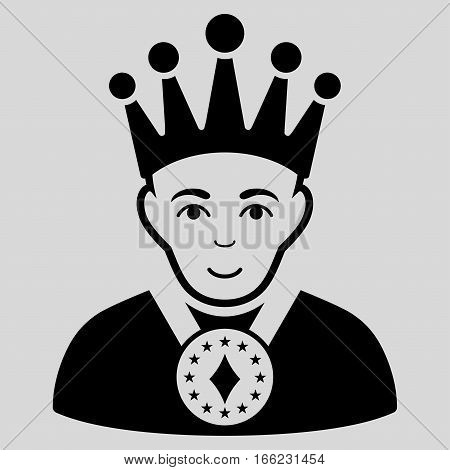 King vector icon. Flat black symbol. Pictogram is isolated on a light gray background. Designed for web and software interfaces.