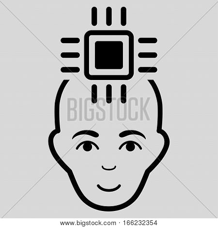 Neural Computer Interface vector icon. Flat black symbol. Pictogram is isolated on a light gray background. Designed for web and software interfaces.