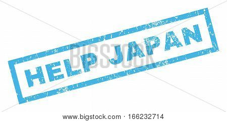 Help Japan text rubber seal stamp watermark. Tag inside rectangular shape with grunge design and dust texture. Inclined vector blue ink sign on a white background.