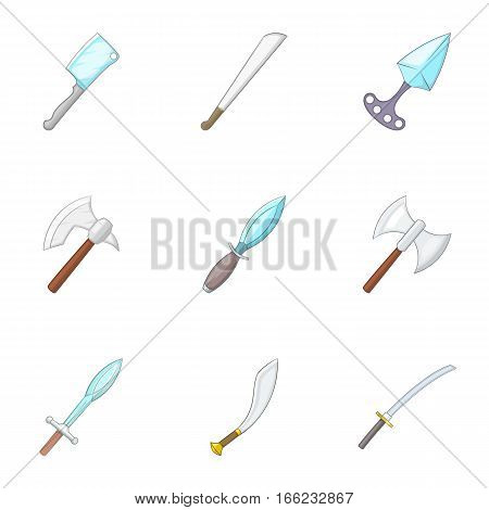 Sharp blades icons set. Cartoon illustration of 9 sharp blades vector icons for web