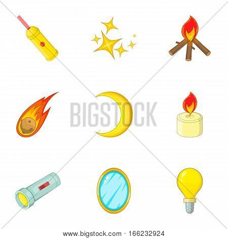 Sources of light icons set. Cartoon illustration of 9 sources of light vector icons for web