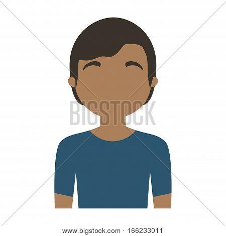 character man multiethnic blue shirt vector illustration eps 10