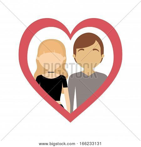 couple love frame heart fashion style vector illustration eps 10