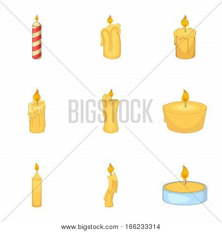 Candles burn with fire icons set. Cartoon illustration of 9 candles burn with fire vector icons for web