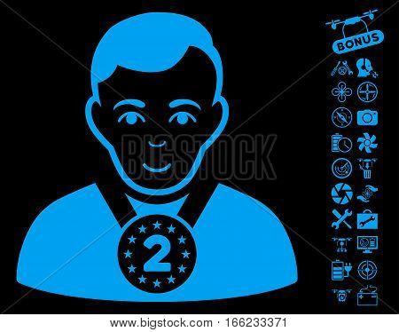 2nd Prizer Sportsman icon with bonus drone service icon set. Vector illustration style is flat iconic blue symbols on black background.