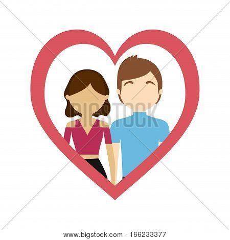 couple love frame heart sweet feelings vector illustration eps 10