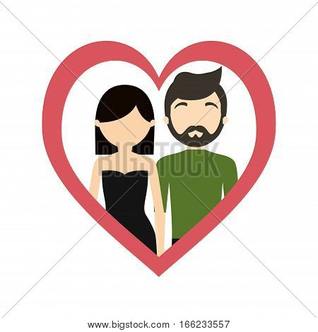 couple love frame heart fashionable modern vector illustration eps 10