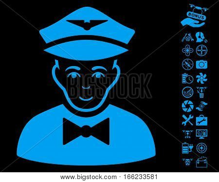 Airline Steward pictograph with bonus quad copter service pictures. Vector illustration style is flat iconic blue symbols on black background.