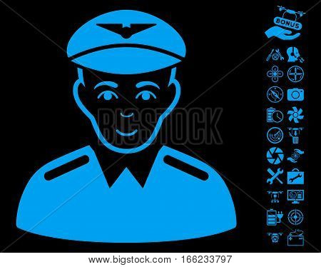 Aviator pictograph with bonus flying drone tools pictograph collection. Vector illustration style is flat iconic blue symbols on black background.