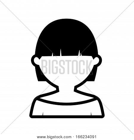 avatar woman short hair modern outline vector illustration eps 10