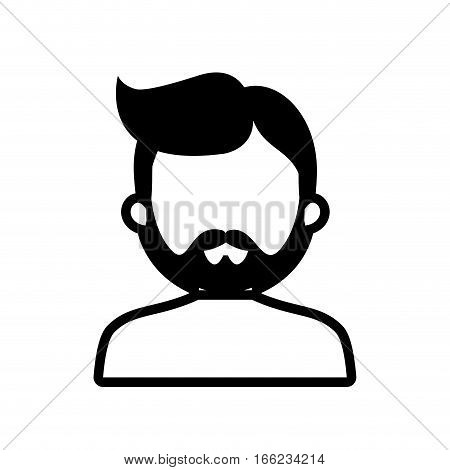 avatar man bearded hairstyle outline vector illustration eps 10