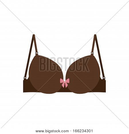 brown brassier design icon with bow vector illustration