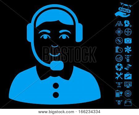 Call Center Operator pictograph with bonus aircopter service pictures. Vector illustration style is flat iconic blue symbols on black background.