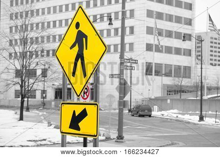 Watch for pedestrians sign on black and white background