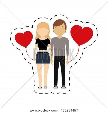 couple romantic symbol red hearts balloon vector illustration eps 10