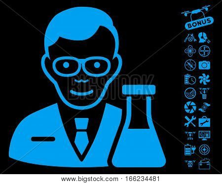 Chemist icon with bonus drone service pictures. Vector illustration style is flat iconic blue symbols on black background.