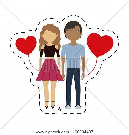 couple mixed race red hearts balloon vector illustration eps 10