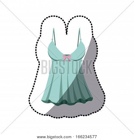 dotted sticker of blue sexy fashion female lingerie with bow vector illustration