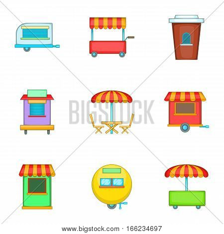 Cafe on wheels icons set. Cartoon illustration of 9 cafe on wheels vector icons for web