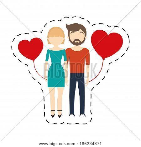 couple romantic cheerful red hearts balloon vector illustration eps 10