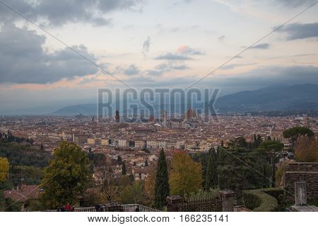The view of Florence at sunset from Basilica San Miniato al Monte. Tuscany. Italy.