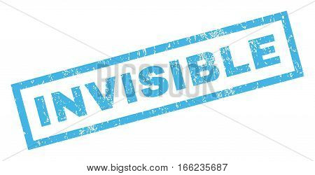 Invisible text rubber seal stamp watermark. Caption inside rectangular banner with grunge design and dust texture. Inclined vector blue ink sign on a white background.