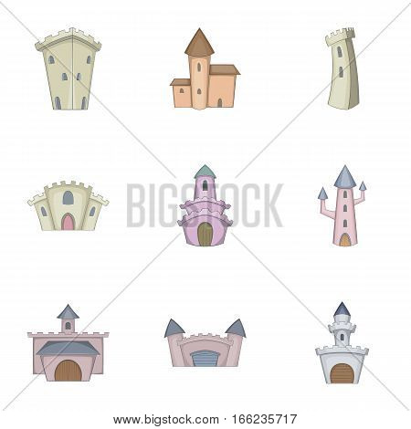 Medieval castle icons set. Cartoon illustration of 9 medieval castle vector icons for web