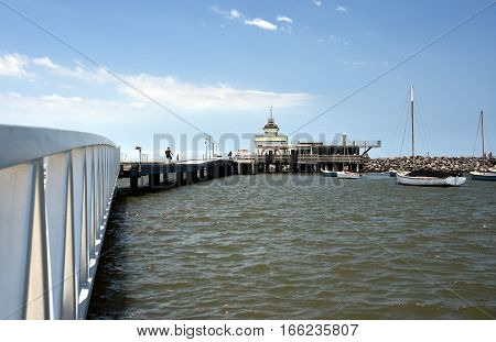 St Kilda pier in Melbourne. St Kilda is home to many attractions such as Luna Park and St Kilda beach.