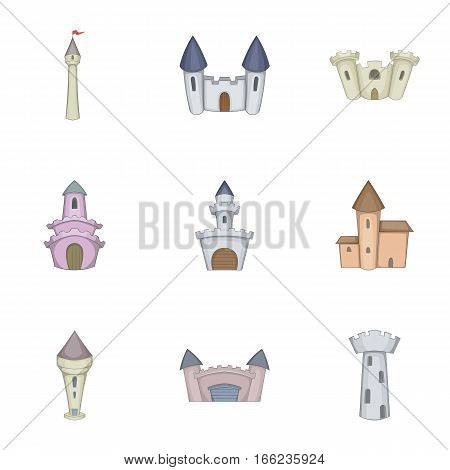 Historical ancient castle icons set. Cartoon illustration of 9 historical ancient castle vector icons for web