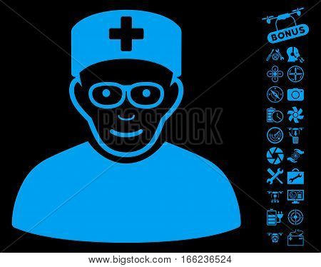 Medical Specialist icon with bonus copter tools pictograph collection. Vector illustration style is flat iconic blue symbols on black background.