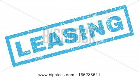 Leasing text rubber seal stamp watermark. Caption inside rectangular banner with grunge design and dust texture. Inclined vector blue ink sticker on a white background.