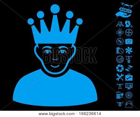 Moderator pictograph with bonus quad copter tools images. Vector illustration style is flat iconic blue symbols on black background.