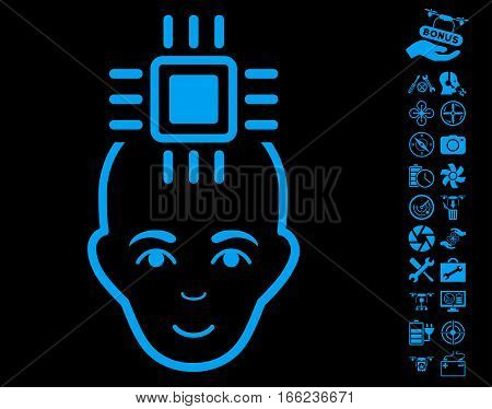 Neural Computer Interface pictograph with bonus aircopter tools symbols. Vector illustration style is flat iconic blue symbols on black background.