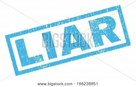 Liar text rubber seal stamp watermark. Tag inside rectangular banner with grunge design and dust texture. Inclined vector blue ink emblem on a white background.