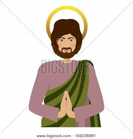 half body picture saint joseph praying vector illustration