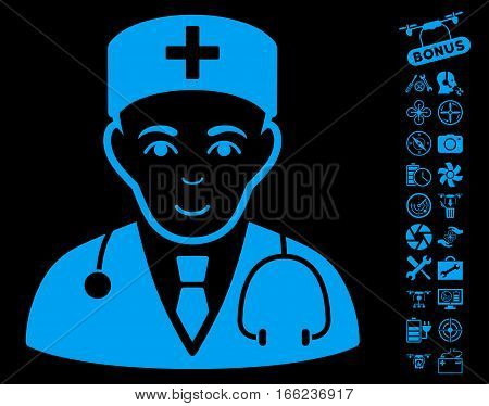 Physician pictograph with bonus quadrocopter service design elements. Vector illustration style is flat iconic blue symbols on black background.