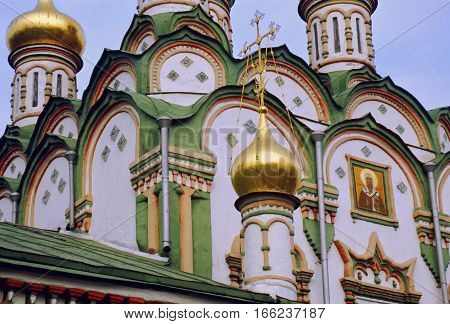 Public christian ortodox church vibrant background - Moscow Russia
