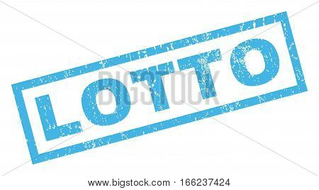 Lotto text rubber seal stamp watermark. Caption inside rectangular banner with grunge design and dirty texture. Inclined vector blue ink emblem on a white background.